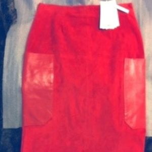 NWT-Orange/Rust Suede Leather Pencil Skirt